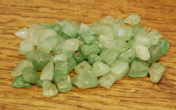 "GREEN AVENTURINE SMALL TUMBLE CHIP BEADS - 50 BEADS or 36"" STRING"